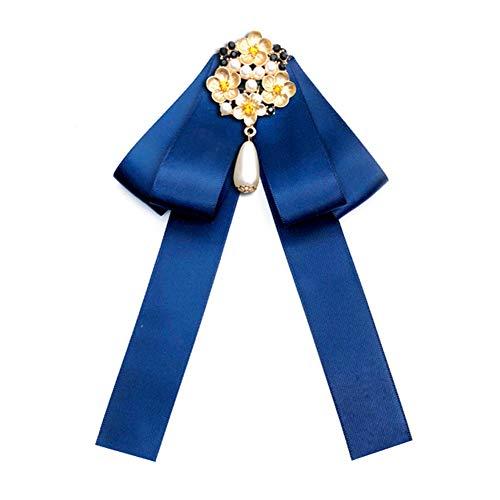 Nowbetter Damen-Brosche mit Schleife und Blumenapplikation mit Perlenanhänger, Krawatten-Brosche, Anstecknadel Hochzeit Fliege Boutonniere, blau, 12cm*19cm