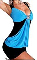 Womens 2 Colour Sexy Mini Dress Sleeveless Summer Party Bodycon Ladies Outfit#( Black And Blue 2 colour Bodycon Mini Dress#S(UK-8)#Womens)