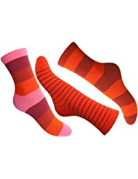 Loonysocks, 3 Pair of Colorful Cotton Rich Women/ Ladies & Girl Mixed Red Socks, Size UK 6-8 EU 39/42