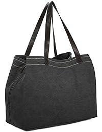 4890adfc12dd Damen Umhängetasche, Gracosy Canvas Handtasche Segeltuch Henkeltasche Groß  Kapazität Mode Weekender Schultertasche Freizeit Einfache Tasche