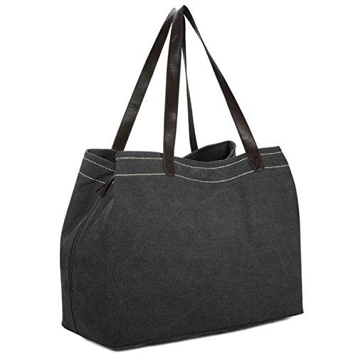 Damen Handtasche, Gracosy Canvas Shopper Tasche Vintage Umhängetasche Schultertasche Leinentasche Canvas Totes Hobo Bag für Einkaufen Arbeit Schule Reise Schwarz