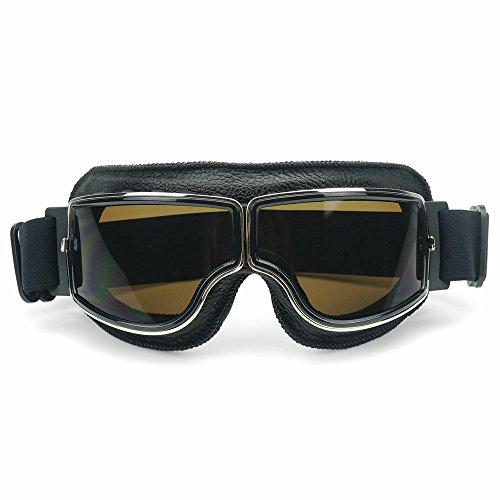 Heinmo Motocross Aviator Ski Motorrad Roller Brille Retro Helmbrille für Harley (Smoke lens black padding)