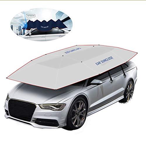 SDJIEN Auto-Zelt-Automatische Gefaltete Fernsteuerungs-Beweglicher Selbstschutz-Regenschirm-Schutz-Auto-Haube-Sonnenschutz-AbküHlen,Silver,semiautomatic