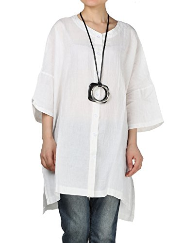 084e6ff980a Vogstyle Women's Linen Loose Shirt Plain Flare Sleeve T shirt Tops Blouse  White - Buy Online in Oman. | Apparel Products in Oman - See Prices, ...