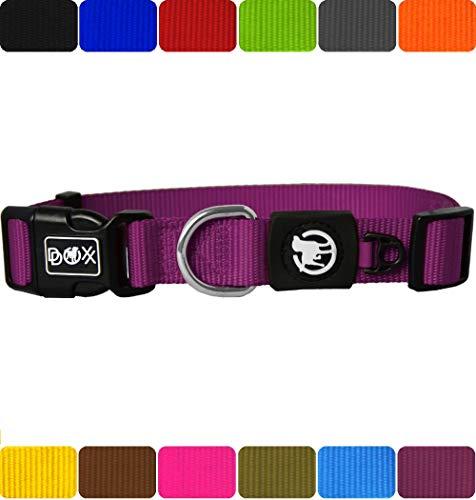 DDOXX Hundehalsband Nylon in vielen Farben & Größen für kleine & große Hunde   Halsband Hund Katze Welpe   Katzenhalsband klein   Hunde-Halsbänder breit Leuchtend   Lila, XS -