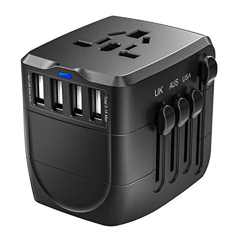Universal Reiseadapter 4 USB, 2400W Welt Reisestecker für...