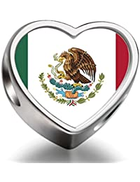 925 Sterling Silver Charms Beads Mexico flag Heart Photo Charm Beads Charms Bracelet
