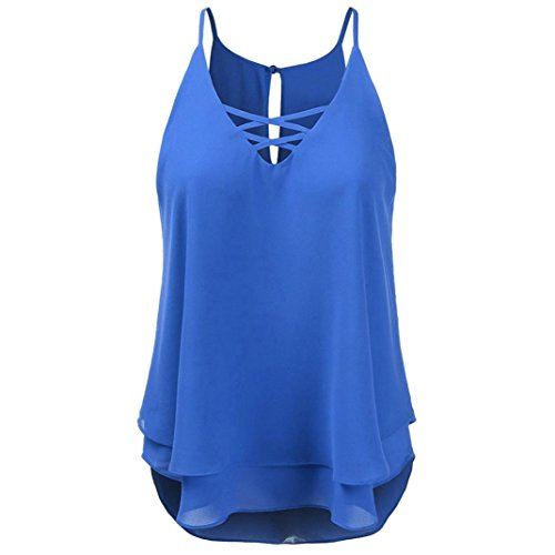 OverDose Damen Sommer Ärmellos Bluse Mode Frauen Bandagen Sleeveless Weste Spitze Schmetterling Strappy Print Tank Tops T Shirt Oberteile(X-c-Blau,L)