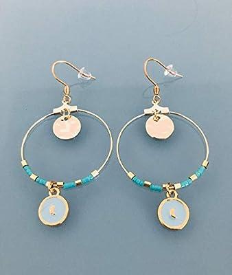Créoles lune, Boucles d'oreilles créoles lune dorée et perles turquoises et or, bijou pour femme, creoles dorées, bijou doré, bijoux cadeaux, cadeau femme, bijou