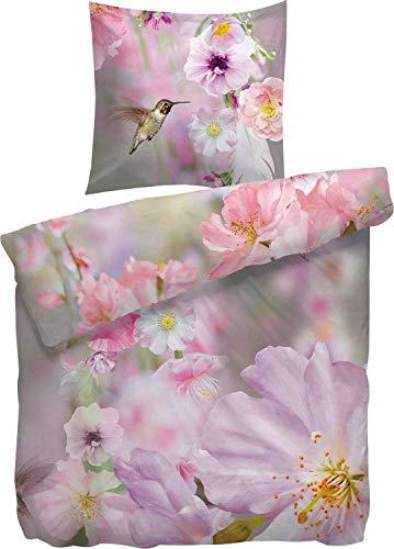 Heckett & Lane Mako-Satinbettwäsche Wootton 135x200 cm 80x80 Farbe Rosa Blüte Kirschblüte Kolibri