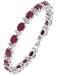 The Jewelbox Classic Italian Rhodium Plated CZ Diamond Red Ruby Bracelet For Girls Women