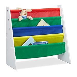 Relaxdays, Mehrfarbig Bücherregal für Kinder, Aufbewahrungsregal, Spielzeugregal, aus MDF+Polyester, mit 4 Stofffächern…