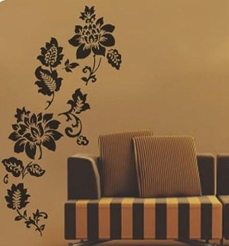 Walplus Wandtattoo, romantische Blumen, leicht zu entfernen, Vinyl, Schwarz