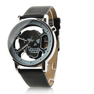 Fenkoo Montre bracelet unisexe analogique à quartz Cadran creux style tête de mort Bracelet en cuir PU Noir