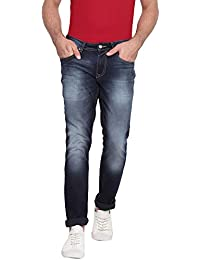 RUF & TUF Solid Navy Blue Coloured Slim Fit Jeans