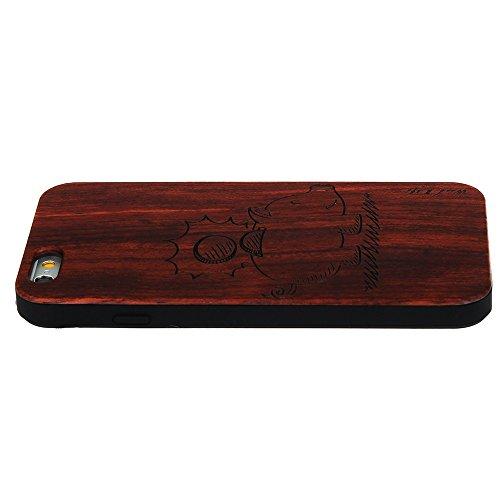 Handy Schutzhülle für iPhone 5 5S SE Forepin® Echtem Holzhülle auf Kunststoff Ultraslim Handyhülle - Hart PC Bumper Case für iPhone 5 5S SE SmartPhone, Tiger Geldschachtel