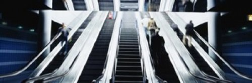 The Poster Corp Panoramic Images - Group of people on escalators at an airport O'Hare Airport Chicago Illinois USA Photo Print (45,72 x 15,24 cm)