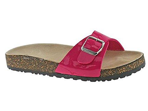 Damen-Sandalen mit bequemem Kork, einzelne Schnalle, Pantoletten, Flip-Flops, Strandschuhe Fuchsia