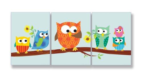 Home Decor Kollektion Stupell MDF Holz,Eulen auf Zweig Teil Wandschild 5.08 cm, Set 3 Stück, Mehrfarbig