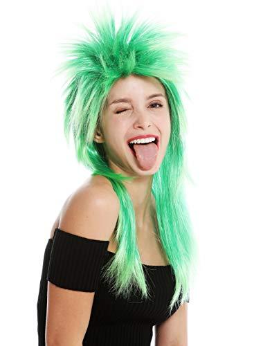 WIG ME UP - DH1069-PC18TPC16 Perücke Fasching Karneval Punk Vokuhila Rocker wild 80s Wave toupiert lang Grün Mix
