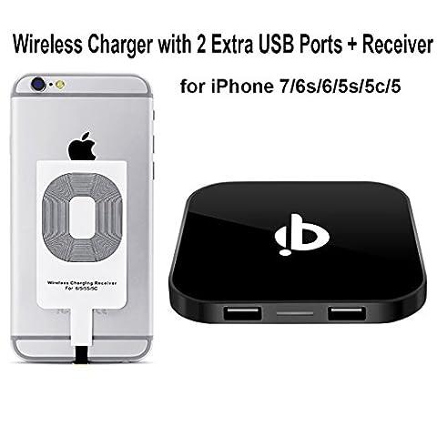 Chargeur sans fil + Récepteur iPhone + 2 Ports de