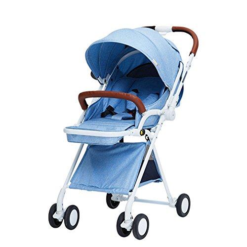 LLX Carrito De Cuatro Ruedas Plegable De Alta Velocidad del Carrito De Bebé Portátil del Paisaje Bidireccional,Blue