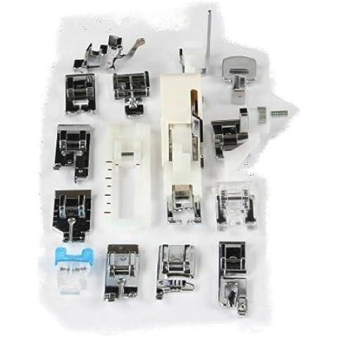 Gritzner - Pack de pies para máquinas de coser, caja de plástico duro, 14 piezas, compatibles con máquinas W6, Brother, AEG, Silvercrest, Carina, Veritas, Singer, Janome, Dorina y
