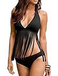 Alicemall Conjunto de Bikini de 2 Piezas Bañador de Fleco Mujer Ropa de Baño Push-Up Liso de Negro, Talla S
