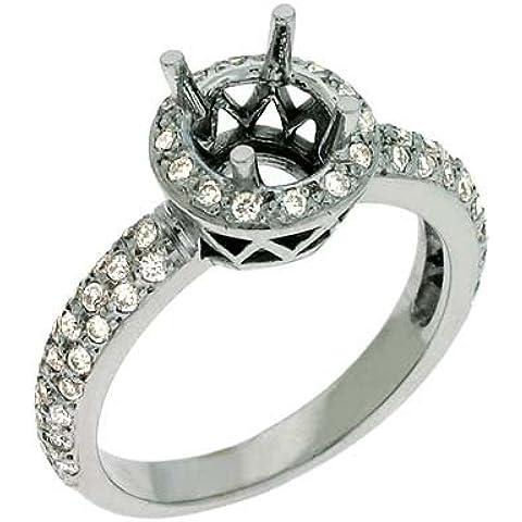 14kt oro bianco rotondo 0,54ct Diamante Semi-mount Anello Di Fidanzamento