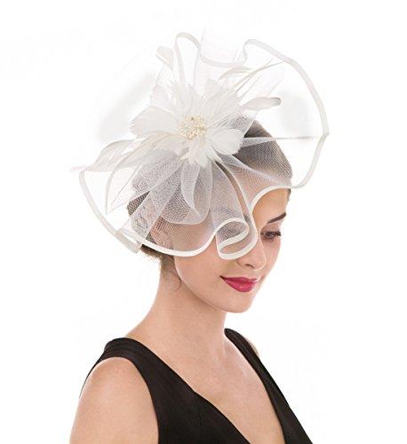 Fascinators Hut Blume Mesh Bänder Federn auf einem Stirnband und einem geteilten Clip Cocktail Tea Party Hochzeit Kirche Headwear für Mädchen und Frauen Braut (Große Beige Mash) Halloween Haar-band