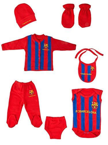 Babyset Fußball 7 Stück mit Hüten, Handschuhen, Baby Strampler, Latzhose und komplettem Trainingsanzug (Barcelona)