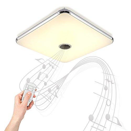 Dimmbare Deckenleuchte mitFernbedienung und Bluetooth Lautsprecher 24W fürWohnzimmer,Schlafzimmer,KücheundEsszimmer(Silber) JDONG 10506-24W-LY
