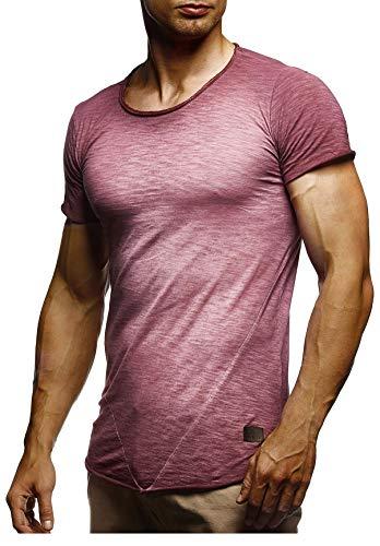 LEIF NELSON Herren Sommer T-Shirt Rundhals-Ausschnitt Slim Fit Baumwolle-Anteil | Moderner Männer T-Shirt Crew Neck Hoodie-Sweatshirt Kurzarm lang | LN6281-1 Verw. Burgund X-Large -