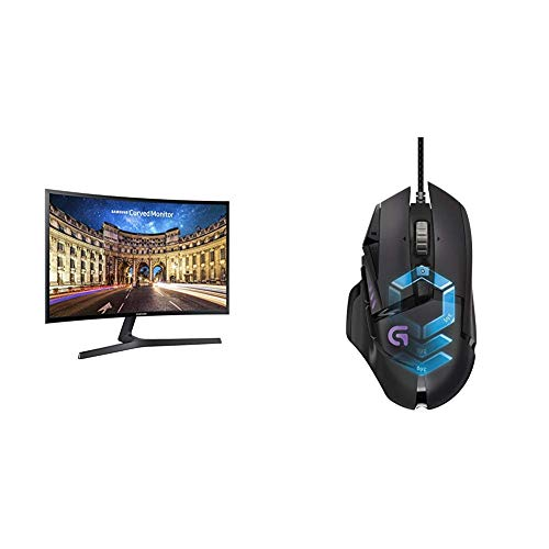 Samsung C24F396FHU Curved Monitor, 60,9 cm (24 Zoll), schwarz & LogitechG502 ProteusSpectrum Gaming-Maus (mit RBG-Anpassung und 11programmierbaren Tasten, 200-12.000DPI)schwarz