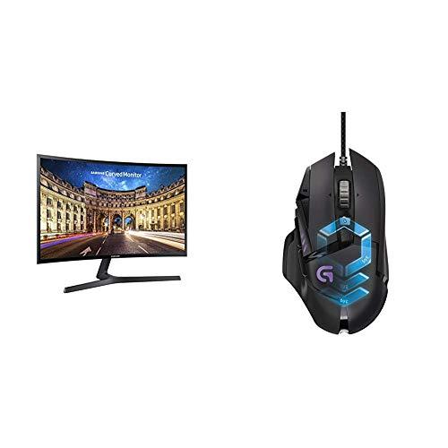 Samsung LC27F396FHUXEN 68,6 cm (27 Zoll) LED Monitor schwarz/silber & LogitechG502 ProteusSpectrum Gaming-Maus schwarz (Led-fernseher Zoll 27 Samsung)