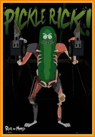 Rick Y Morty Póster con Marco (Plástico) - Pickle Rick, Rickinillo Con Disfraz De Rata (91 x 61cm)