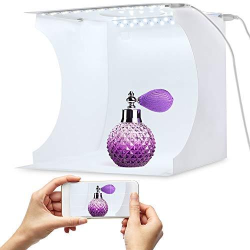"""Tragbarer Foto-Studio-Ministand-Schießzeltinstallationssatz faltende Fotografie Leuchtkasten mit Würfel der Helligkeit 2x20 LED Streifen 8 \""""6 Farben-Hintergrund"""