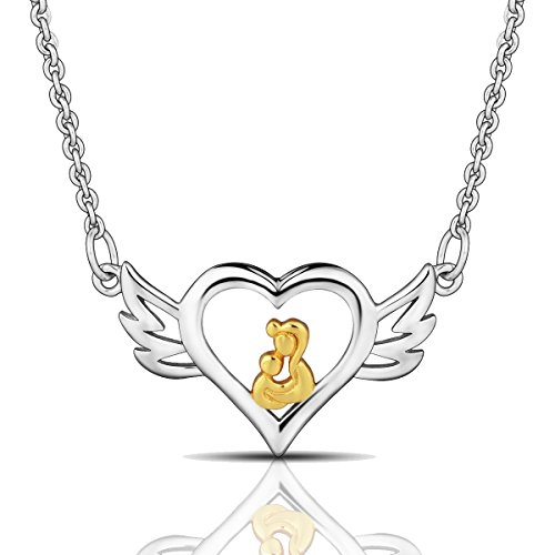 EUDORA Mother's love Sterling Silver 925 Angel Wings Heart Pendant Necklace for women's jewelry