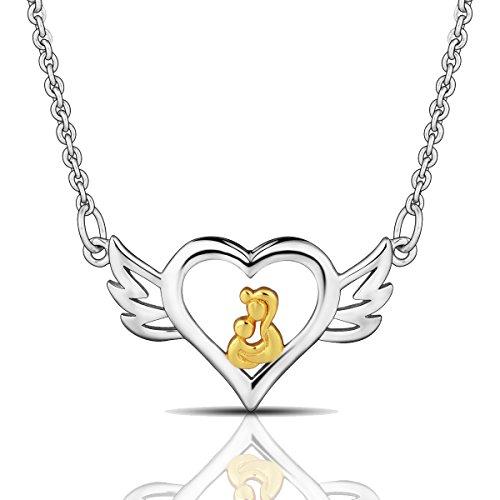 EUDORA El amor de mamá Plata de ley 925 Alas de angel Colgante de corazón Collar para la joyería de las mujeres