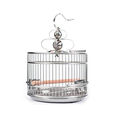 Prodotti per animali domestici Gabbie per Uccelli Gabbie per uccelli in acciaio inossidabile Stand per uccelli in tondo Appendiabiti Habitat per Cockatiel Finch Canarino Piccoli animali Gabbie per Ucc