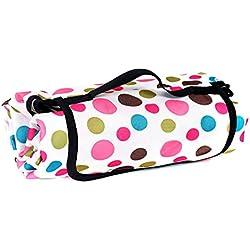 TUKA 200 x 150 cm Coperta Telo Pic-nic Tappeto, impermeabile, pieghevole grande coperta da picnic, Coperta Campeggio Giardino, punto rosa, TKD4003-pinkdot