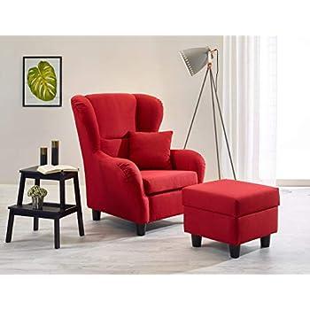 Stilvoller Ohrensessel JACKSON inkl. Hocker in rot kariert Sessel ...