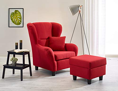 lifestyle4living Ohrensessel mit Hocker in Rot im Landhausstil |...
