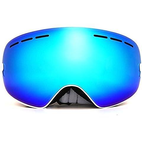 JoySki 7 colores Profesional Unisex Gafas de esquí con espejo recubrimiento anti-niebla UV400 Protección desmontable Gran Angular esférica lente doble para esquí al aire libre de la nieve Snowboard Skate Motos de nieve Motos de invierno Deportes Gafas (caja original Incluir)