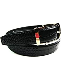 "Mens Womens High Quality black Belt Croc Grain Gilt Metal Buckle 1.25"" Casual Formal Casual Formal Jeans"