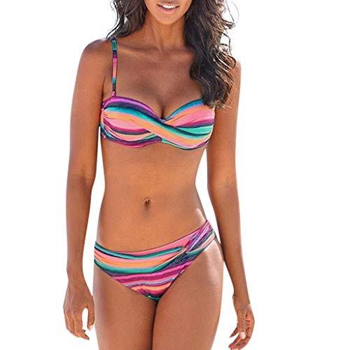 hmtitt Damen Sommer Boho Print Badeanzug Damen Boho Streifen Halfter Push up Bandeau Bikini Set badeanzüge Zweiteiler 1 stück Badeanzug + 1 stück Badehose