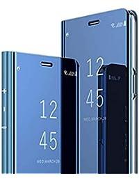 Jancyu kompatibel mit Hülle Huawei P30 Pro Spiegel Schutzhülle Huawei P30 /P30 Lite Hart Handy Case 360-Grad-Schutz Flip Electroplate Stand Ledertasche