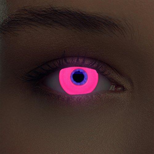 "Designlenses, Dos luminoso (debajo luz negra) UV lentillas de fluorescente colores rosa relumbrar costume lentes de tres meses sin dioprtías + gratis caso de lente ""Glowing Pink"""