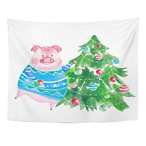 stry, Tapestry Wall Hanging, Art Decor Wall, Watercolor Pig in Sweater and Christmas Tree Chinese Year of The 60