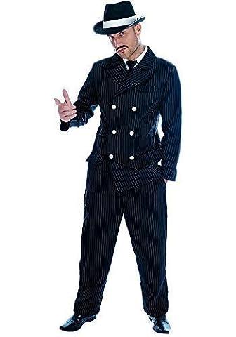 Para hombre Negro Pinstripe 1920s Gangster Bugsy Malone traje de disfraz infantil de disfraz (Nero Gessato Camicia)